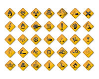 Warning signs. And symbol of danger Stock Images