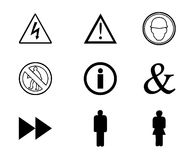 Warning signs and symbols. Few signs and symbols used for warnings Stock Image