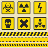 Warning signs, symbols. Seamless tape. Royalty Free Stock Images