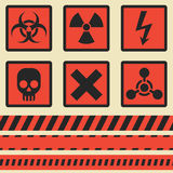 Warning signs, symbols. Vector set. Seamless tape Royalty Free Stock Image