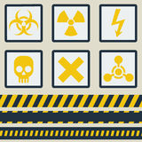 Warning signs, symbols. Vector set. Seamless tape Royalty Free Stock Photos