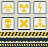 Warning signs, symbols. Vector set. Seamless tape Royalty Free Stock Photos