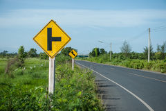 Warning signs tell road conditions Royalty Free Stock Images