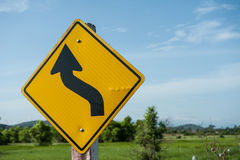 Warning signs tell road conditions Stock Images