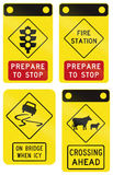 Warning Signs In Victoria - Australia. Collection of road warning signs in Victoria - Australia Stock Image