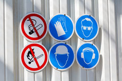 Warning signs on the wall Stock Image