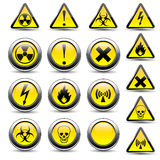 Warning signs. On a white background Royalty Free Stock Photos