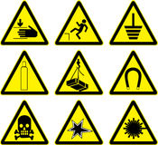 Warning signs  work. Royalty Free Stock Photo