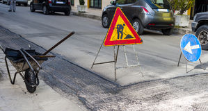 Warning signs for work in progress on road Royalty Free Stock Photos