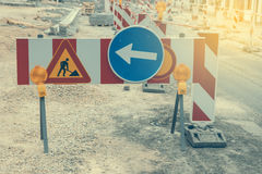 Warning signs for work in progress 2 Stock Photography
