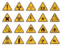 Free Warning Signs. Yellow Triangle Alerts Symbols, Attention Chemical, Flammable And Radiation Danger, Accident Exclamation Stock Photo - 175788500
