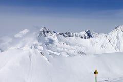 Warning sing on ski resort Royalty Free Stock Images