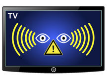 Warning Smart TV Spy Stock Images