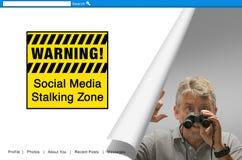 WARNING Social Media Stalking Zone sign screen. A warning screen with a sign that reads WARNING Social Media Stalking Zone with a creepy man with binoculars down Royalty Free Stock Image