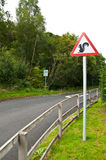 Warning... Squirrels!!. A roadsign warning of crossing squirrels on the road Stock Image