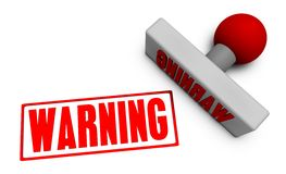 Warning Stamp. Or Chop on Paper Concept in 3d Stock Photo