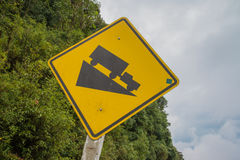 Warning steep road sign and slop. Warning steep road sign slop and truck on hill stock photo