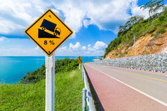 Warning steep road sign slope Royalty Free Stock Image