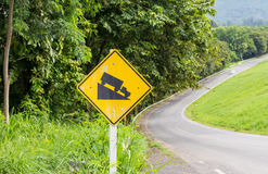Warning steep road sign slope Royalty Free Stock Photos