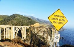 Warning steep slope Royalty Free Stock Photography