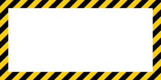 Warning striped rectangular background border yellow and black color Construction warning border. Warning striped rectangular background, yellow and black stock illustration