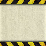 Warning stripes frame with old paper Royalty Free Stock Photography