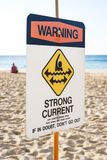 A Warning Strong Current sign at the beach stock photos