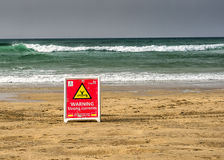 Warning strong currents sign Stock Images