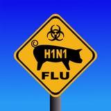 Warning swine flu H1N1 sign Stock Image