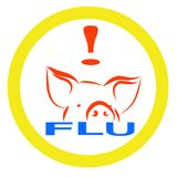 Warning swine flu sign Stock Photos
