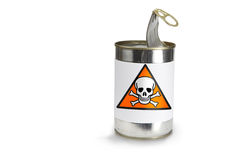 Warning Symbol. Skull Warning Symbol on a can on a white background Stock Image