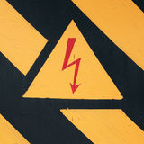 Warning symbol on doors of the transformer Royalty Free Stock Photography