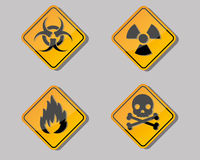 Warning symbol. Four design of warning symbol Royalty Free Stock Image