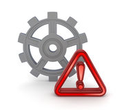 Warning symbol and grey gear. Stock Photo