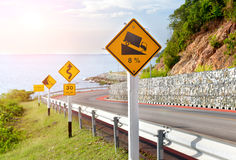 Warning symbol sign for traffic protecion. Royalty Free Stock Photo