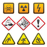 Warning symbols - Hazard Signs-First set Stock Photo