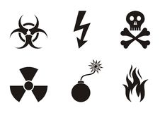 Warning symbols. Set of black warning symbols icons isolated Stock Photo