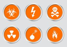 Warning symbols. Set of white warning symbols on orange buttons Stock Photo