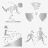 Warning symbols stickers set Stock Images