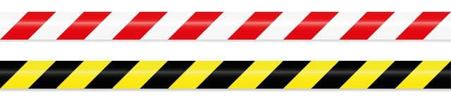 Warning tape red white and yellow black royalty free illustration