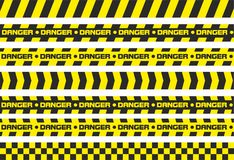 Warning tapes Danger. Set of warning tapes. For restriction and dangerous zones. Yellow and black Royalty Free Stock Image