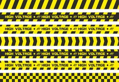 Warning tapes high voltage. Set of warning tapes. For restriction and dangerous zones. Yellow and black Stock Images