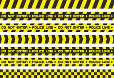 Warning tapes police line. Set of warning tapes. For restriction and dangerous zones. Yellow and black Stock Photography