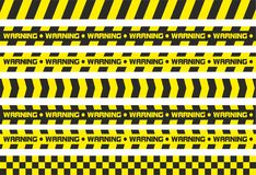 Warning tapes. Set of warning tapes. For restriction and dangerous zones. Yellow and black Stock Photo