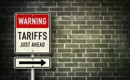 Free Warning - Tariffs Just Ahead Stock Photo - 138931120