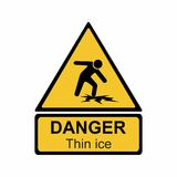 Warning thin ice sign vector design Stock Image