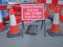 Warning to pedestrians. Sign for pedestrian road is closed Stock Image