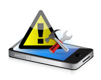 Warning tools smartphone Royalty Free Stock Image