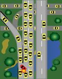 Warning traffic on the road. Warning be careful to drive the car to avoid danger in Rush hour royalty free illustration