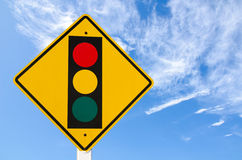 Warning traffic sign. On blue sky Royalty Free Stock Photography